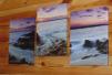 Картина морской рассвет 3x25 на 35 см холст  триптих маленькая