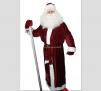 Новогодний костюм Деда Мороза выполнен из мягкого бордового стрейч-велюра (бархата) маленькая