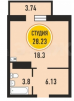 Однокомнатная квартира, Тарманы, ул. Тимофея Чаркова, д. ГП-3, Жилой квартал «НОВЫЙ МЫС 2.0» маленькая