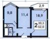 Продам любимую, 2-х комнатную квартиру п. Голубое. Собственник маленькая